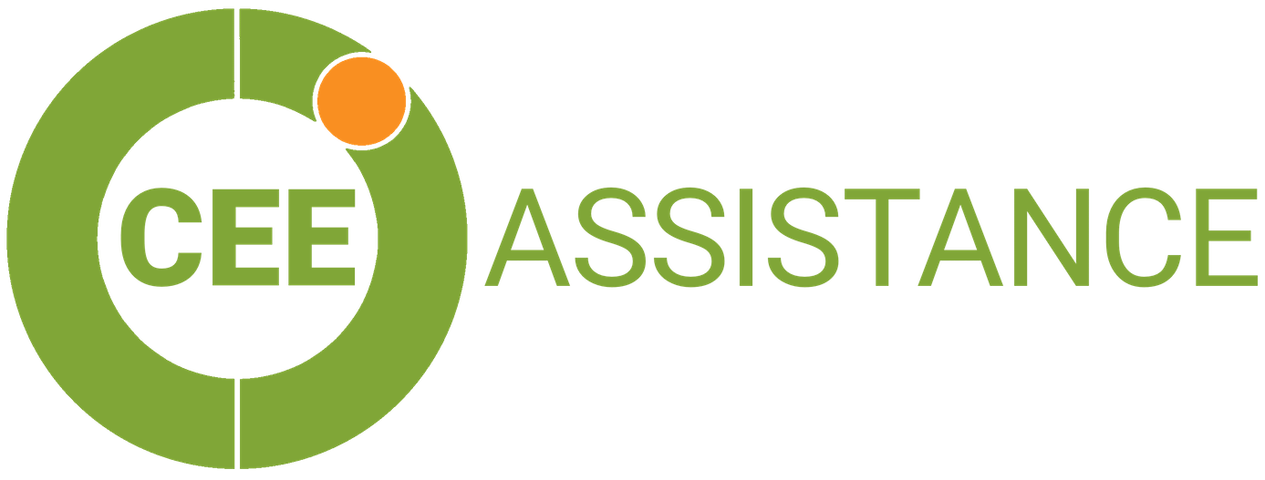 "CEE Assistance Logo Full Version - green circle with orange dot and ""CEE"" word written in green, inside of the circle plus ""assistance"" word written in green outside of the circle"